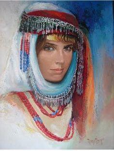 traditional Turkmen bride head scarf
