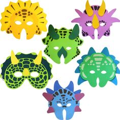 Pack of 6 Dinosaur Foam Face Masks (máscara/ careta): Amazon.es: Juguetes y juegos