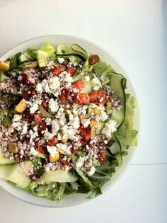 A contemporary take on Greek salad, with roasted tomatoes and lemons, delicate zucchini ribbons, and a tangy feta vinaigrette.