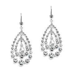 Concentric Teardrops Clear Crystal Dangle Earrings
