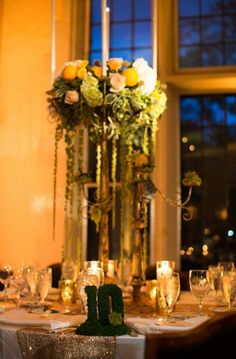 Romantic candelabra arrangement with fruit and flowers.  Northern Greenhouses #wedding @ Michigan Shores Country Club, Wilmette