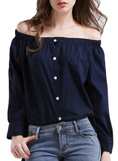 women-s-slash-neck-off-shoulder-long-sleeve-button-down-blouse