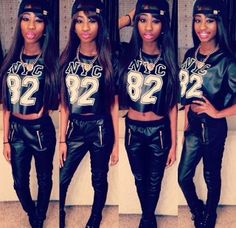 All black with crop graphic tee and and SnapBack