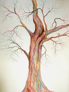 Colored pencil drawing of tree.