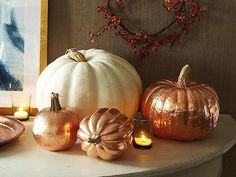 Make a copper leaf pumpkin that will dazzle from Halloween straight through the Thanksgiving season! Thanksgiving Decorations, Seasonal Decor, Halloween Decorations, Fall Decor, Thanksgiving Ideas, Diy Pumpkin, Pumpkin Carving, Pumpkin Painting, Holidays Halloween