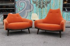 Plush Pair of Orange Mohair Lounge Chairs | From a unique collection of antique and modern chairs at https://www.1stdibs.com/furniture/seating/chairs/