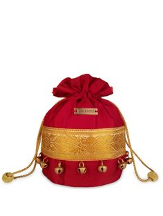 Maroon and Gold Potli Bag