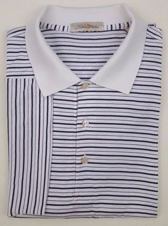 cbd7dfc6f838 PETER Millar POLO Shirt LARGE White MENS Multicolor STRIPED Size COTTON  Golf SZ   PeterMillar