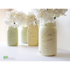 Spring Wedding Decor Painted Mason Jars Centerpiece Vase Yellow Green... ($32) ❤ liked on Polyvore featuring home, home decor, green home accessories, yellow home decor, yellow home accessories, yellow centerpieces and outside home decor