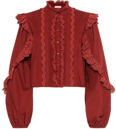 Add warm tones to your wardrobe with the brick-red cotton Adelaide blouse from Ulla Johnson. True to the label's bohemian aesthetic, the style is bolstered with charming tonal ruffle trims around its sleeves, button-down .