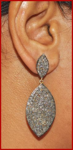 """""""Luour 22"""" Price: $715    5.42ctw ROSE CUT DIAMOND DANGLE/EARRING Danglers ♥    Signature Victorian Collection....known for its international taste and appeal!    Imported, world-class quality, not pre-owned, not pawned, not stolen. WE DELIVER WORLDWIDE ♥"""