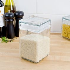 Stapelbare voorraadpotten glas, 1,5 L