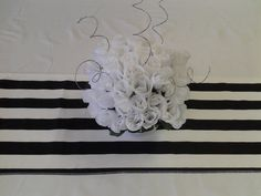 90 x 13 inches, Wedding party table runner, BLACK and white stripe, wedding decorations,custom sizes available via Etsy