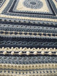 Crochet Stitch Sampler Afghan Heirloom Shades of Blue by sewitnona, $200.00