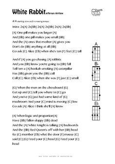 Ukulele chords - White Rabbit by Jefferson Airplane Ukulele Cords, Guitar Chords For Songs, Best Acoustic Guitar, Guitar Chord Chart, Ukulele Tabs, Music Guitar, Piano Music, Guitar Girl, Great Song Lyrics
