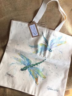 Dragonflies Tote Bag Wildlife Art Bag 100% Heavy Cotton | Etsy Small Christmas Gifts, Watercolor Print, Watercolour Painting, Art Bag, Wildlife Art, Dragonflies, Art Studios, Cotton Tote Bags, Bag Making