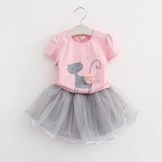 Menoea Summer Baby Girls Clothing Sets Fashion Style Cartoon Kitten Printed T-Shirts+Net Veil Dress Girls Clothes Like and share if you think it`s fantastic! Visit our store Kids Outfits Girls, Girl Outfits, Girls Dresses, Party Dresses, Dress Outfits, Fashion Kids, Style Fashion, Suit Fashion, Dress Fashion