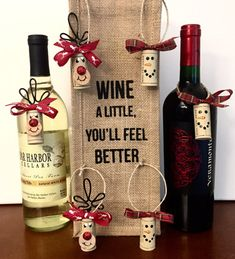 Every bottle of wine you give as a gift needs these adorable wine cork ornaments! This set of 6 wine cork ornaments is 100% handmade with recycled synthetic wine corks. Youll receive 3 Rudolph and 3 Snowman wine cork ornaments. The Rudolph ornaments are approximately 4 inches tall from the top of his hand bent wire antlers to the bottom of the cork. His nose is painted and adorned with red glitter that really sparkles in the light. The red and white antler ribbon tied in a bow on top really…