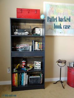 Holy Craft: One Room Challenge-week two. Pallet backed bookcase makeover and painting the furniture