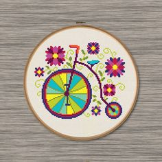 Penny Farthing - Retro bicycle - cute, colorful PDF Cross Stitch Pattern with flowers and leaves