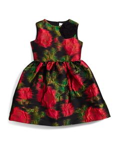 Prince de Galles Floral A-Line Dress, Black/Fuchsia, Size 4-6