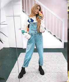 "Blogger @oliviabynature with the ""Walking on Rainbows"" Case by @colormecourtney Available for all iPhone sizes! winter fashion, edgy outfits, colorful, fall fashion, overalls, rainbow accessories, UK blogger, outfit ideas, iPhone X case, iPhone regular case, iPhone plus case, boho fashion, style guide, looks for less, color me courtney"