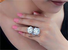 Round and Diamond Engagement Rings 10.14+10.11 carat K color VVS2-VVS1 Asscher Cut Diamond Engagement Ring, Diamond Cuts, Heart Ring, Diamond Earrings, Color, Jewelry, Jewlery, Jewerly, Colour