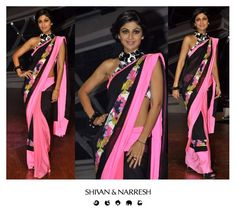 Shilpa Shetty gorgeously stuns in Shivan & Narresh Black & Floss Sari with the Naive 'Sketch Pen' print & a 'Chalk & Charcoal' Blouse #ShilpaShetty #ShivanAndNarresh #Sari #Wedding #Fashion #Style #Trend #DestinationWedding