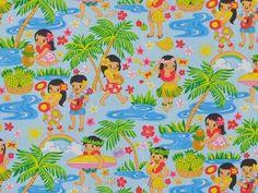 CAC0065- 100% Cotton Fabric: All-Over Hawaiian Print Fabric