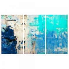 Set of 3 Abstract Blues Canvas Wall Art