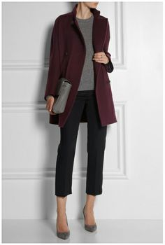 Grey - Jumper and Maroon Coat & Black Trousers