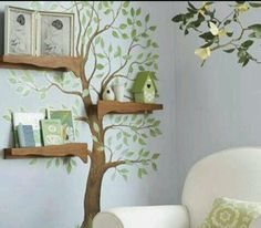 shelfs would be cute attached to a tree, nathan could make shelfs