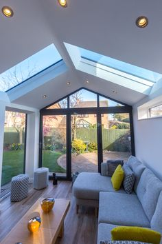 Replacement Conservatory Roofs - This stunning conservatory roof replacement incorporates the Ultraroof with full length glass panel - House Extension Plans, House Extension Design, Extension Designs, Living Room Extension Ideas, Conservatory Interiors, Conservatory Design, Conservatory Ideas Interior Decor, Conservatory Dining Room, Modern Conservatory