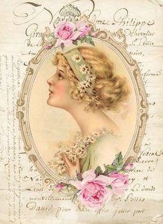 Queen of Roses Decoupage Vintage, Vintage Diy, Floral Vintage, Decoupage Paper, Shabby Vintage, Vintage Tags, Vintage Labels, Vintage Ephemera, Vintage Postcards
