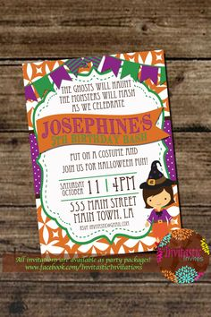 Halloween Birthday Party Invitation - Halloween Costume Party Printable Invitation - Trick or Treat October Halloween Theme Printable Invite by InvitasticInvites on Etsy https://www.etsy.com/listing/200910143/halloween-birthday-party-invitation