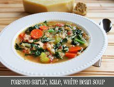 Roasted Garlic, Kale, White Bean Soup recipe