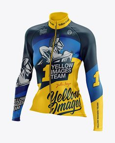 4488e185a99 Women s Cycling Thermal Jersey LS mockup (Half Side View). Present your  design on this mockup. Simple to change the color of different parts and  add your ...