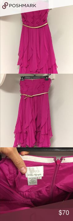 Pink and gold strapless gown EUC, Head turning, gorgeous hot pink gown. Strapless style, extra built in bust belt so you're not feeling like it's about to fall down 👊🏼. Beautiful gold belt goes right under bust, creating a gorgeous silhouette. With a twirly skirt, this dress is a show taker at any wedding, formal, dinner or date! Worn once for photo shoot. No trades Dresses Strapless