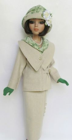 """OOAK LADY AMBER'S SUMMER SUITABLE (1920s). FOR 16"""" ELLOWYNE. MADE BY SSDESIGNS via eBay, SOLD 5/26/13  $539.99"""