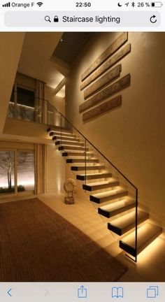 If we talk about the staircase design, it will be very interesting. One of the staircase design which is cool and awesome is a floating staircase. This kind of staircase is a unique staircase because Staircase Lighting Ideas, Stairway Lighting, Floating Staircase, Staircase Design, Interior Stairs, Interior Design Living Room, Interior Architecture, Interior Ideas, Outdoor Stair Railing