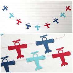 Airplane garland is perfect for decorating an airplane themed party or baby shower! Garland is handmade to order in your choice of cardstock