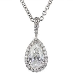 1.05 Carat Pear Shaped Diamond Pendant | From a unique collection of vintage drop necklaces at https://www.1stdibs.com/jewelry/necklaces/drop-necklaces/