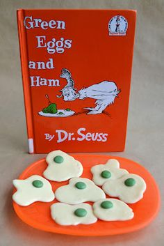 East Coast Mommy: Dr. Seuss Inspired Fun  - melted white chocolate with green m -- could also make sugar cookies this shape
