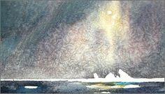 """Pintura en acuarela y texto de David McEown. """"La pintura de Hielo, Nordporten # 1"""", de 9 x 15inches, la acuarela. Pintado en la ubicación en Svalbard, en condiciones de temperatura bajo cero, creando así el efecto de cristales de hielo en el lavado. Vía facebook."""