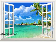 Cloud Palm Tree Beach 3D Window View Removable Wall Sticker Decal Home decor