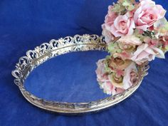 Mid Century Mirrored Vanity Tray with Gold Tone by SecondWindShop, $14.50