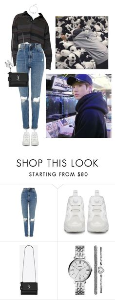 """""""Arcade #151 Jungkook"""" by fadedhuman ❤ liked on Polyvore featuring Topshop, Reebok, Yves Saint Laurent, FOSSIL and Chupi"""