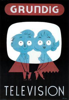 Grundig Television vintage advert ad poster print