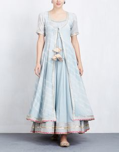 Sky Blue Leheriya Jacket with Anarkali Set