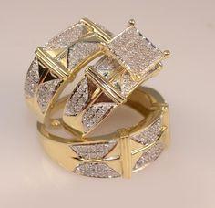 Yellow Gold Over Engagement Bridal Wedding Trio Ring Set His And Her Lab Diamond #tvsjewelery #WeddingEngagementAnniversary